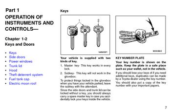 1997 Toyota Avalon Keys and Doors (in English)