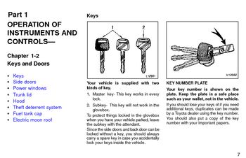 1997 Toyota Camry Keys and Doors (in English)