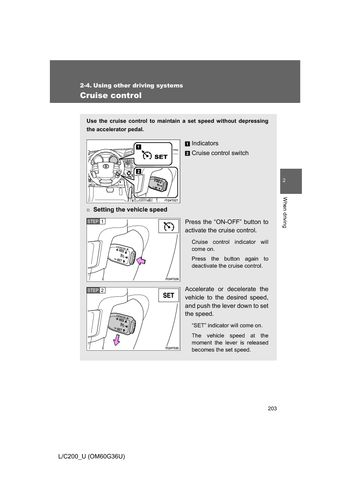 2013 Toyota Land Cruiser Operating Other Driving Systems (in English)