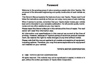 1996 Toyota Land Cruiser Owner's Manual (in English)