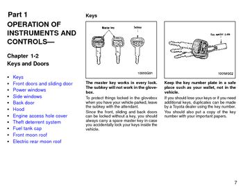 1996 Toyota Previa Keys and Doors (in English)