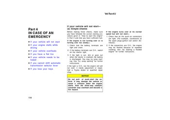 1998 Toyota RAV4 In Case Of An Emergency (in English)