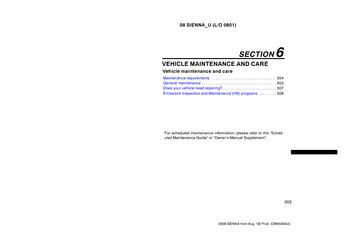 2008 Toyota Sienna Vehicle Maintenance and Care (in English)