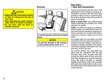 1996 Toyota Tacoma Seat Belts and SRS (in English)