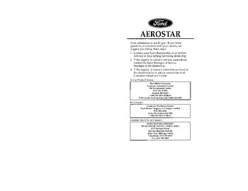 1996 Ford Aerostar Owner's Manual (in English)