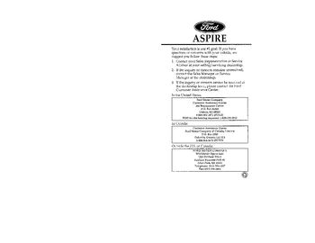 1996 Ford Aspire Owner's Manual (in English)