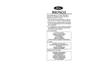 1996 Ford Bronco Owner's Manual (in English)