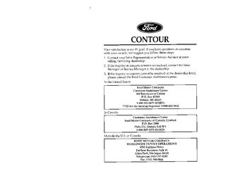 1996 Ford Contour Owner's Manual (in English)