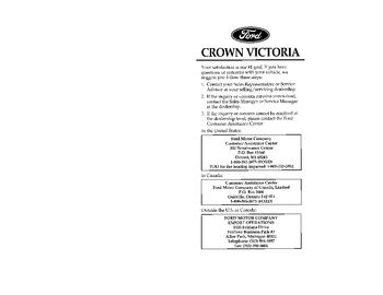 1996 Ford Crown Victoria Owner's Manual (in English)