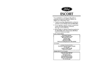 1996 Ford Escort Owner's Manual (in English)