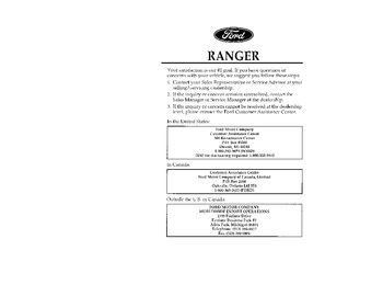 1996 Ford Ranger Owner's Manual (in English)