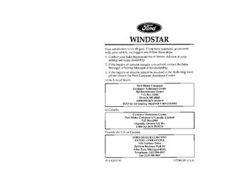 1996 Ford Windstar Owner's Manual (in English)