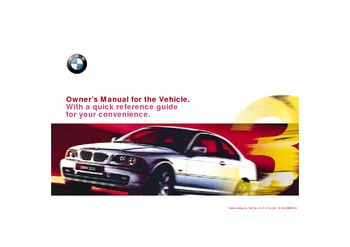 2000 BMW 323Ci Owner's Manual (in English)