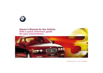 2000 BMW 323i Owner's Manual (in English)