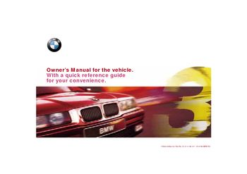 1998 BMW 328is Sedan Owner's Manual (in English)