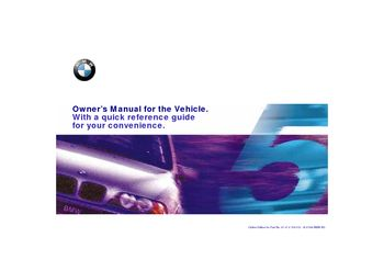 2000 BMW 540i Sedan Owner's Manual (in English)