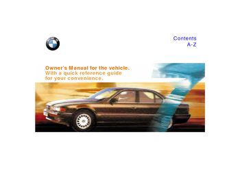 1997 BMW 7 Series Owner's Manual (in English)