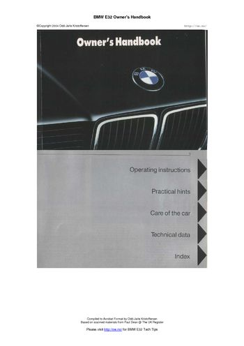 1988 BMW 7 Series E32 Owner's Manual (in English)