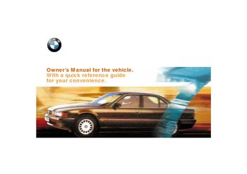 2000 BMW 740i Owner's Manual (in English)