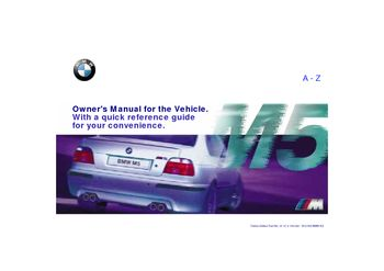 2000 BMW M5 Owner's Manual (in English)