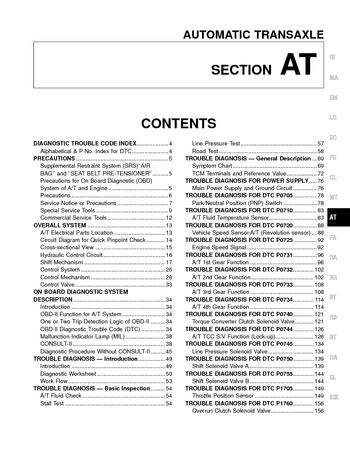 2000 Nissan Altima Automatic Transmission (Section AT) (in English)