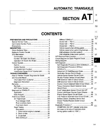 1994 Nissan Altima Automatic Transmission (Section AT) (in English)