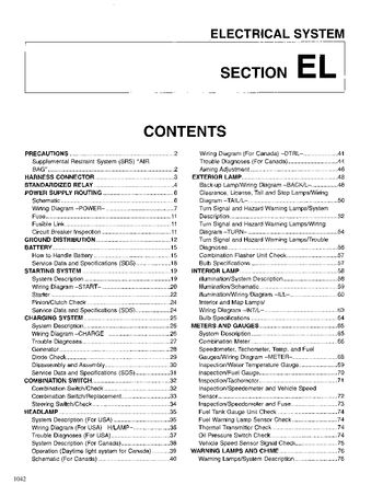 1996 Nissan D21 Electrical System (Section EL) (in English)