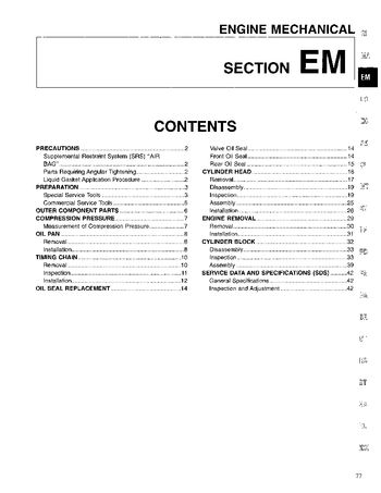 1996 Nissan D21 Engine Mechanical (Section EM) (in English)
