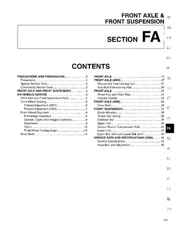 1996 Nissan D21 Front Axle (Section FA) (in English)