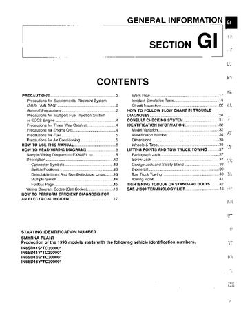 1996 Nissan D21 General Information (Section GI) (in English)
