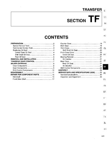 1996 Nissan D21 Transfer (Section TF) (in English)