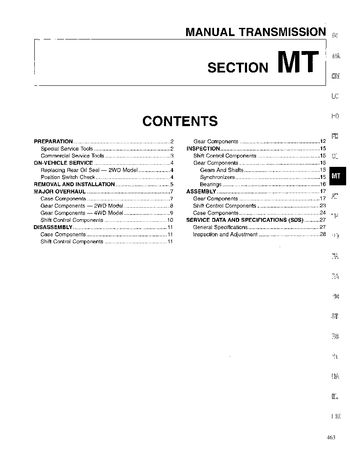 1996 Nissan D21 Manual Transmission (Section MT) (in English)