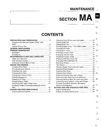 1996 Nissan D21 Maintenance (Section MA) (in English)