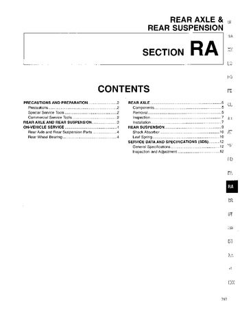 1996 Nissan D21 Rear Axle & Rear Suspension (Section RA) (in English)