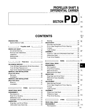 1994 Nissan D21 Propeller Shaft & Differential Carrier (Section PD) (in English)