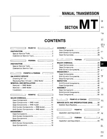1994 Nissan D21 Manual Transmission (Section MT) (in English)
