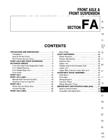 1994 Nissan D21 Front Axle (Section FA) (in English)