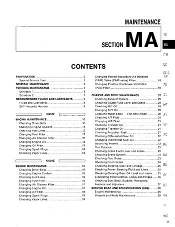 1994 Nissan D21 Maintenance (Section MA) (in English)