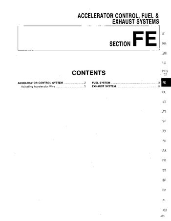 1994 Nissan D21 Fuel & Exhaust Systems (Section FE) (in English)