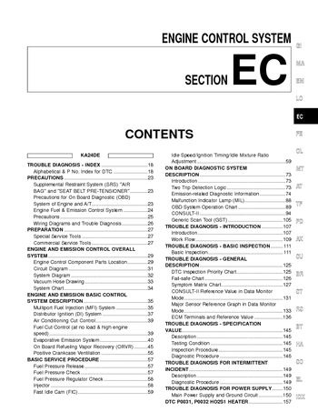 2002 Nissan Frontier Emission Control System (Section EC) (in English)