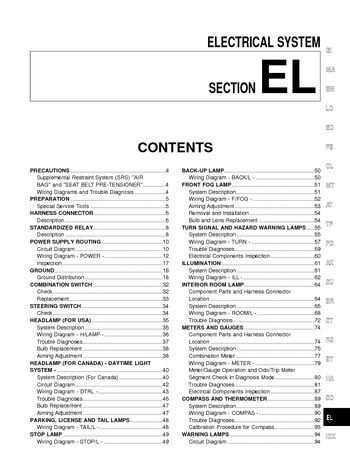 2002 Nissan Frontier Electrical System (Section EL) (in English)