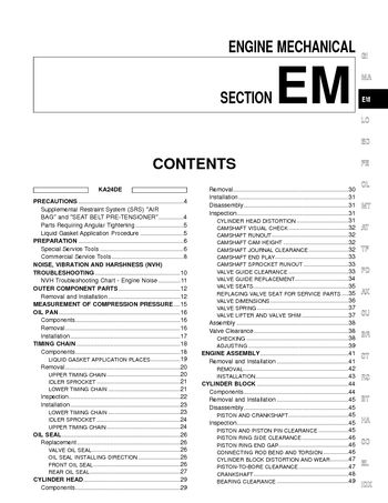 2002 Nissan Frontier Engine Mechanical (Section EM) (in English)