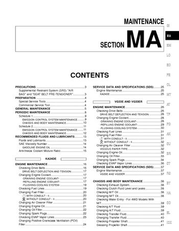 2002 Nissan Frontier Maintenance (Section MA) (in English)