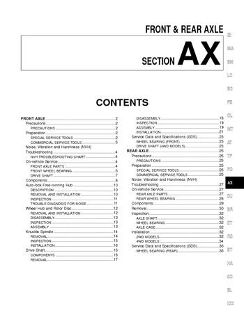 2002 Nissan Frontier Front & Rear Axle (Section AX) (in English)