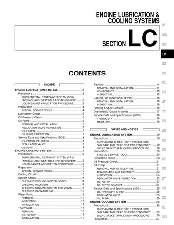2002 Nissan Frontier Cooling Systems (Section LC) (in English)