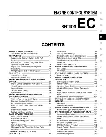 2000 Nissan Frontier Emission Control System (Section EC) (in English)