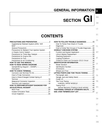 2000 Nissan Frontier General Information (Section GI) (in English)