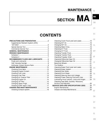 2000 Nissan Frontier Maintenance (Section MA) (in English)