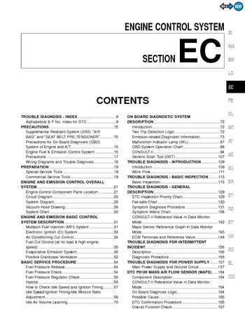 2000 Nissan Maxima Emission Control System (Section EC) (in English)