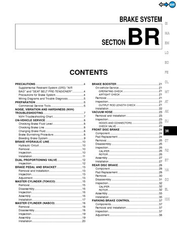 2000 Nissan Maxima Brake System (Section BR) (in English)